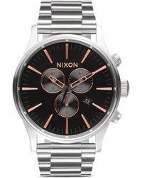 Nixon 'The Sentry Chrono' Watch silver - Lyst