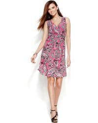 Inc International Concepts Petite Sleeveless Printed Faux-Wrap Dress - Lyst