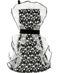 Oscar de la Renta Silk Ruffle Detail Dress - Lyst