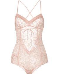 Madame Aime - Café De Flore Satin-trimmed Lace Bodysuit - Lyst
