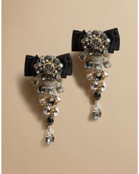 Dolce & Gabbana | Earrings With Satin Bow And Crystals | Lyst