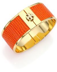 Tory Burch Skinny Lizard-Embossed Leather-Inlay Cuff Bracelet - Lyst
