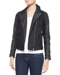 7 For All Mankind Mixedfabric Moto Jacket - Lyst