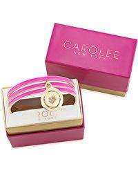 Carolee Gold Tone and Magenta Reversible Charm Bangle Bracelet Set - Lyst