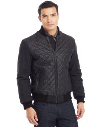 Kenneth Cole Reaction Quilted Faux-leather Varsity Jacket - Lyst