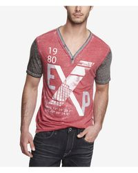 Express Color Block Burnout Henley Graphic Tee X Photo - Lyst