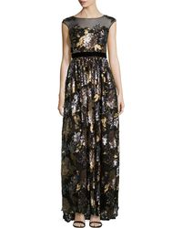 Badgley Mischka Floral-sequined Sleeveless Gown - Lyst