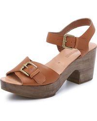 Rachel Comey Bandera Peep Toe Clog Sandals - Natural - Lyst