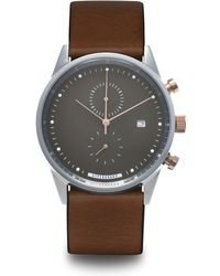 HyperGrand | Maverick Silver Watch On Grey Chrono Dial And Brown Leather Strap | Lyst