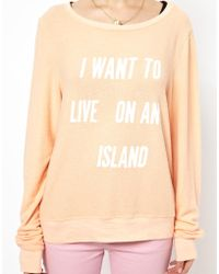 Wildfox Baggy Beach Sweater Live On An Island Print - Lyst