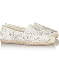 Valentino Lace And Leather Espadrilles - Lyst