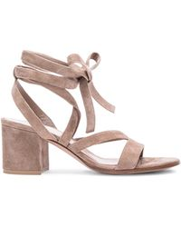 Gianvito Rossi   Suede Lace Up Sandals   Lyst