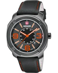 Wenger - Men's Swiss Escort Black Leather Strap Watch 46mm 01.1051.107 - Lyst