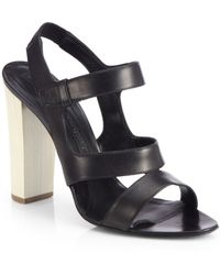 Narciso Rodriguez Leather Chunky-heel Sandals - Lyst