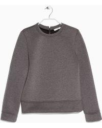 Mango Neoprene-Effect Sweatshirt gray - Lyst