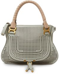 Chloé Marcie Medium Two-Tone Perforated Leather Satchel - Lyst