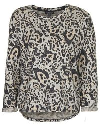 Topshop Petite Brushed Leopard Print Sweater - Lyst