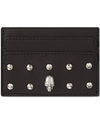 Alexander McQueen Studded Skull Leather Card Holder - Lyst