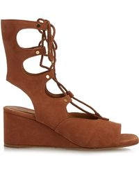 Chloé - Foster Lace-up Wedge Sandals - Lyst