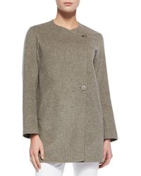 Theory Nyma Divide Asymmetric Twobutton Jacket Taupe Melange Small - Lyst