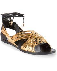 Balmain Matti Woven Metallic Leather Ankle-Tie Sandals gold - Lyst