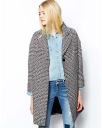Helene Berman Single Button Swing Coat in Mixed Wool - Lyst