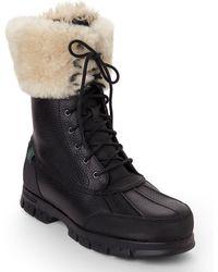 Lauren by Ralph Lauren Black Quinta Real Fur Cuff Boots - Lyst