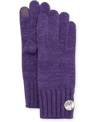 Portolano Cashmere Rhinestone-Button Tech Gloves - Lyst