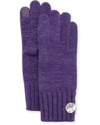 Portolano Cashmere Rhinestone-Button Tech Gloves purple - Lyst