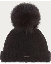 Bally - Hat With Fur Pompom Women ́s Wool & Angora Blend Bobble Hat In Black - Lyst
