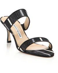 Manolo Blahnik | Angufac Woven Double-strap Sandals | Lyst