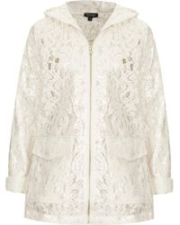 Topshop Cream Lace Plastic Mac - Lyst