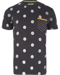River Island Dark Grey Bellfield Mixed Polka Dot Tshirt - Lyst