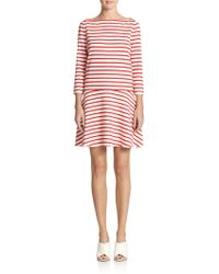 Tory Burch Linen Jersey Striped Dress red - Lyst
