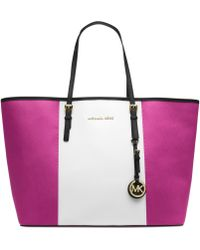 Michael Kors Michael Jet Set Travel Center Stripe Medium Tote - Lyst