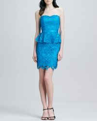Aidan By Aidan Mattox Strapless Peplum Lace Cocktail Dress - Lyst