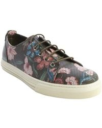 Gucci Military Green Perforated Floral Print Leather Sneakers - Lyst