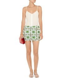 Pia Pauro - Embellished Cotton-voile Mini Skirt - Lyst