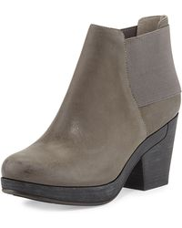 Eileen Fisher Cloud Leather Stretch-Back Ankle Bootie - Lyst
