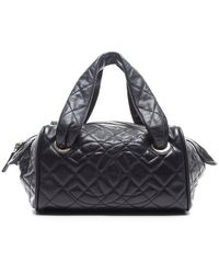 Chanel Pre-owned Navy Quilted Caviar Classic Bowler Bag - Lyst