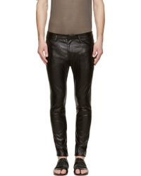 Haider Ackermann Black Shimmer Leather Skinny Trousers - Lyst