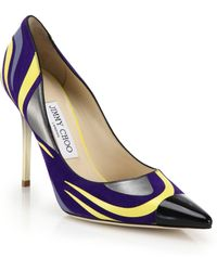Jimmy Choo Printed Suede & Leather Point-Toe Pumps - Lyst