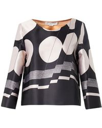 Stella McCartney Greta Abstract-Print Satin Top - Lyst