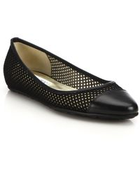 Jimmy Choo | Waine Fabric Mesh & Leather Cap-toe Flats | Lyst