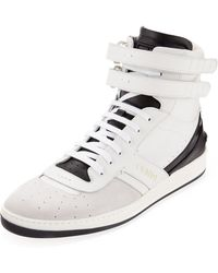 Fendi Suede and Leather Hightop Sneaker - Lyst