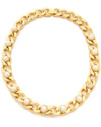 Tory Burch Winchel Pearl Chain Necklace - Ivoryshiny Brass - Lyst
