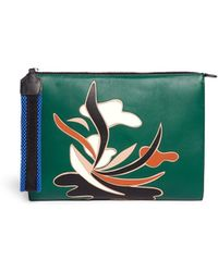 Marni Abstract Floral Appliqué Leather Clutch green - Lyst
