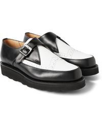 Grenson Two-Tone Leather Monk-Strap Shoes - Lyst