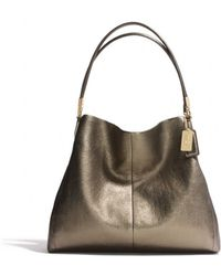 d64b21e7da COACH - Madison Small Phoebe Shoulder Bag in Metallic Leather - Lyst