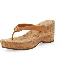 Tory Burch Suzy Logo Thong Wedge Sandal  - Lyst